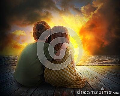 Two Children Watching Summer Sunset