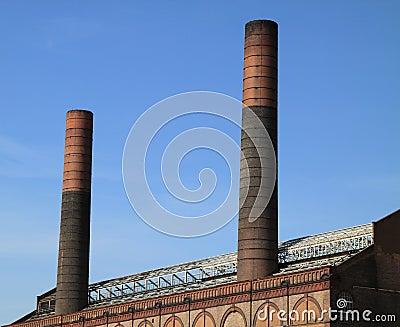 Two chimneys blue sky