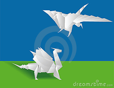Two Chinese paper dragons