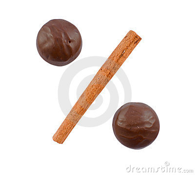 Two chocolates and cinnamon stick