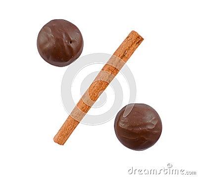 Two chocolates and cinnamon stick