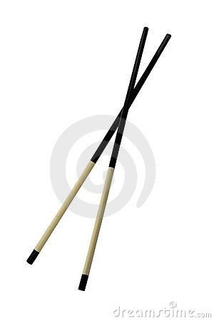 Two chopsticks isolated on pure white
