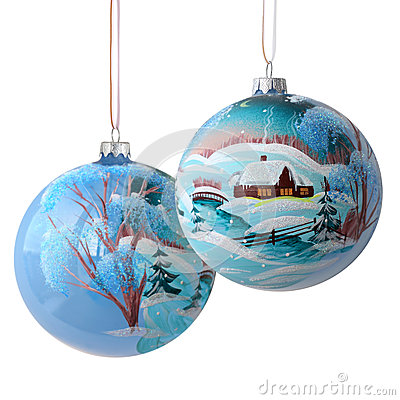 Free Two Christmas Balls On White Stock Photography - 35724822