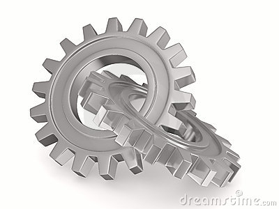 Two chrome gears on white background