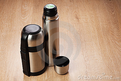 Two Chrome Thermoses Royalty Free Stock Photo - Image: 19159395