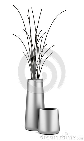 Two chrome vases with dry wood isolated on white