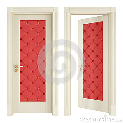 Two classic doors with red upholstery
