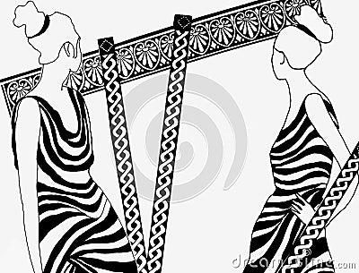 drawing of Roman Women