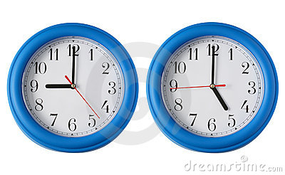 Two clocks, one on 9am and one on 5pm.