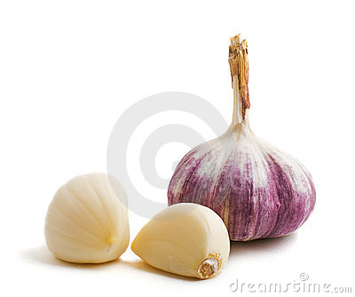 Two cloves and bulb of garlic