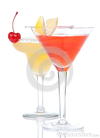 Free Two Cocktail Drinks Yellow Margarita Cherry And Tropical Martini Stock Photography - 37825552