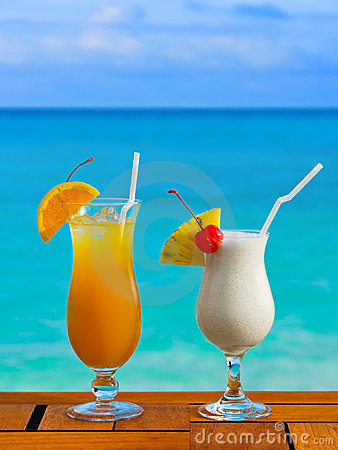 Free Two Cocktails On Table At Beach Cafe Stock Photo - 10518940