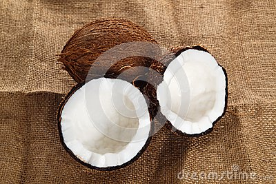 Coconuts on cloth background
