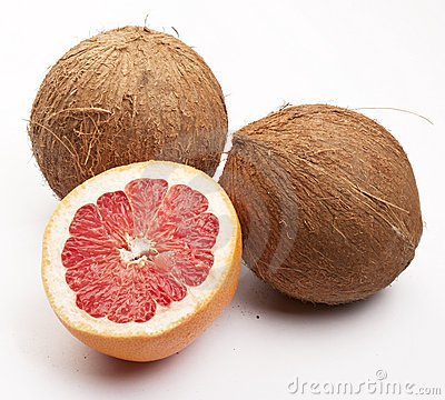 Two coconuts and a grapefruit