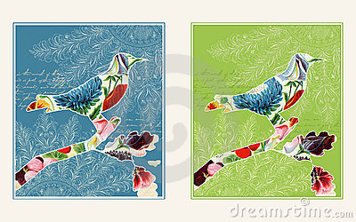 Two collage bird designs