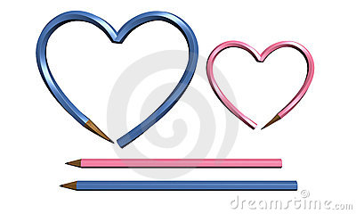 Two color pen in heart shape isolated