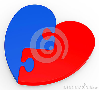 Two-Colored Heart Puzzle Showing Romance