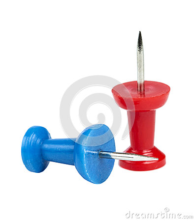 Free Two Colored Pushpins Isolated Royalty Free Stock Photos - 46512178