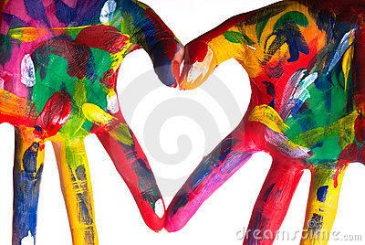 Two colorful hands forming a heart V1