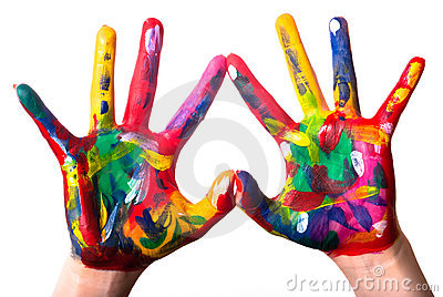 Two colorful hands forming a heart V2