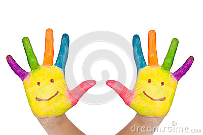 Two colorful hands with smile