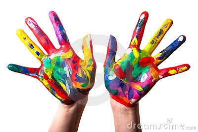 Two colorful hands V1