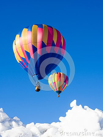 Free Two Colorful Hot Air Balloons In The Sky Royalty Free Stock Photos - 107852358