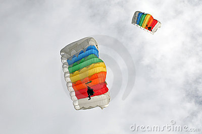 Two colorful parachutists