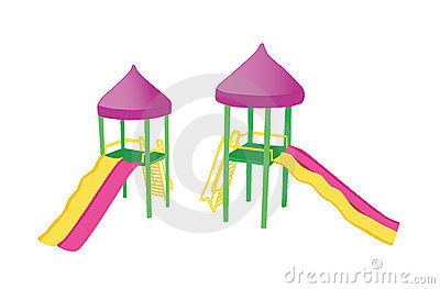 Two colorful playground slides