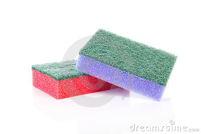 Two colorful sponge scourer