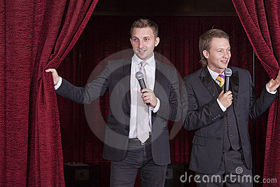 Two comedian actors on stage