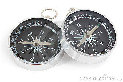 Two compasses with black panel isolated Stock Photo
