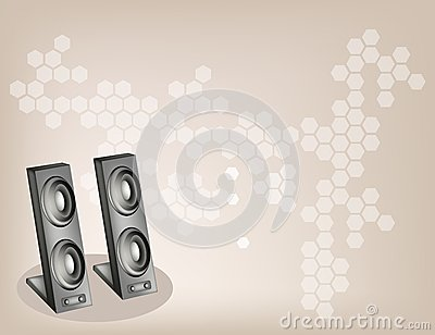 Two Computer Speaker on Beautiful Brown Background