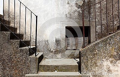 Two concrete stairways going left and right