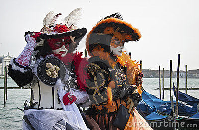 Two costumed women at Venice Carnival 2011 Editorial Image