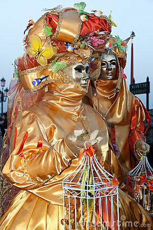 Two costumes on Venetian carnival Editorial Stock Image