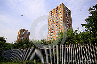 Two council tower blocks with Fence
