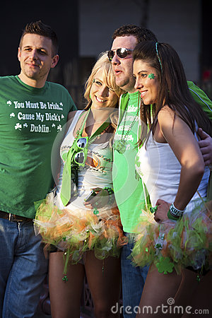 Two couples celebrating St. Patrick s Day Editorial Image