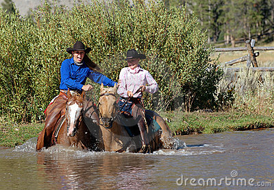 Two Cowgirls Entering Pond