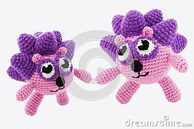 Two crochet hedgehogs.