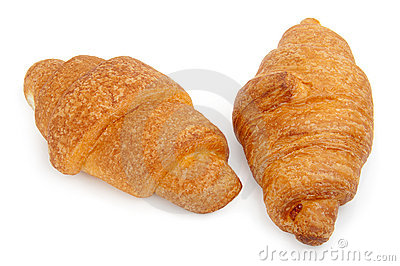 Two croissants isolated on white