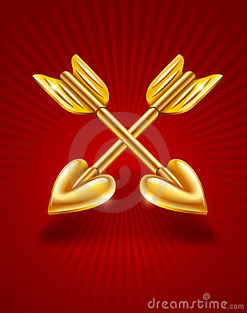 Two crossed gold arrows of cupid with hearts