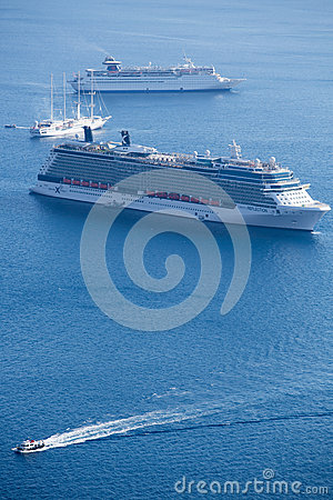 Two cruise ships and other boats Editorial Stock Photo