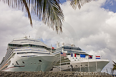 Two Cruise Ships Past Palm Tree
