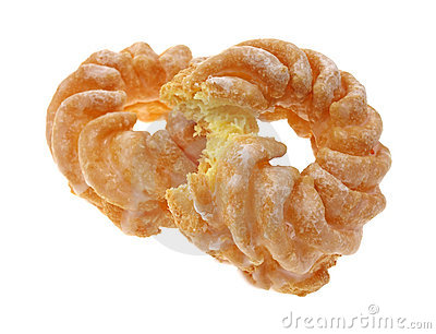 Two crullers with one bitten