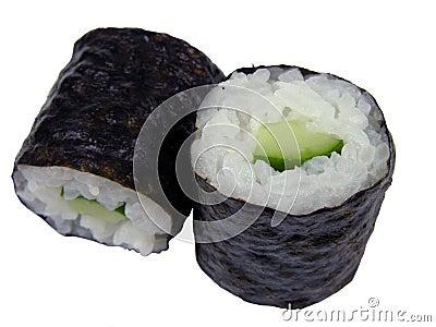 Two cucumber maki rolls