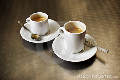 Two cups of espresso coffee