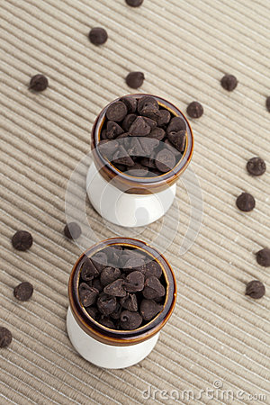 Free Two Cups Of Chocolate Chips Royalty Free Stock Photos - 48230868