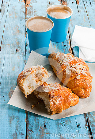 Free Two Cups Of Espresso And Croissants Royalty Free Stock Photography - 87388037