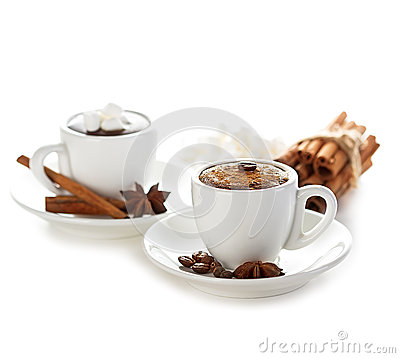 Free Two Cups Of Hot Chocolate With Cinnamon Sticks Stock Image - 55215421
